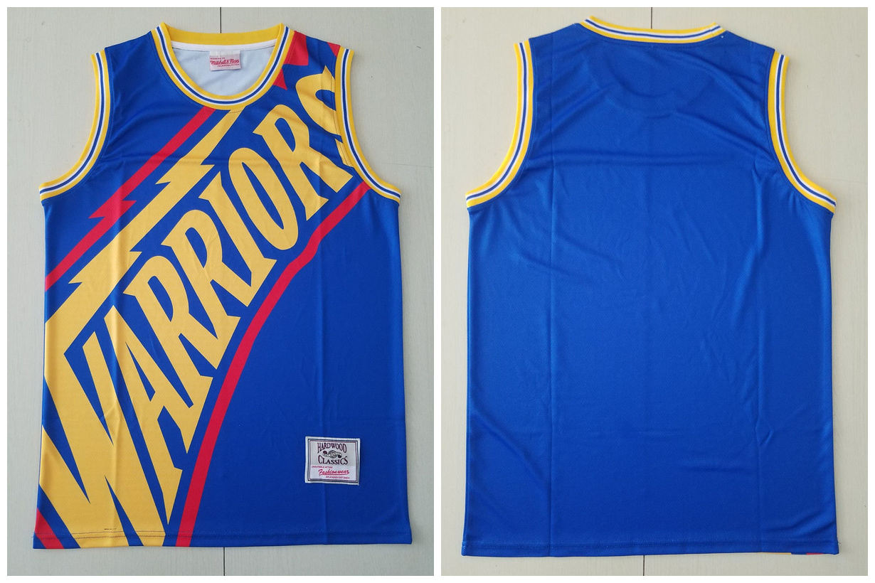 Warriors Big Face Blue Hardwood Classics Swingman Jersey