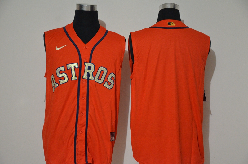 Astros Blank Orange Nike Cool Base Sleeveless Jersey