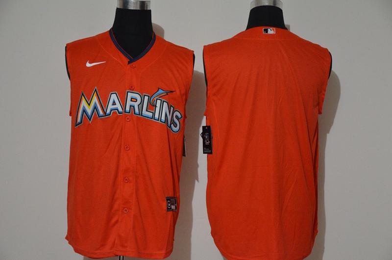 Marlins Blank Orange Nike Cool Base Sleeveless Jersey