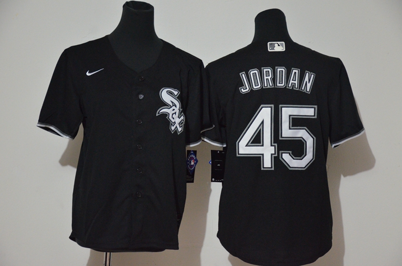 White Sox 45 Michael Jordan Black Youth 2020 Nike Cool Base Jersey