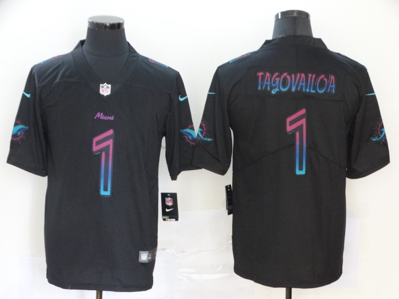 Nike Dolphins 1 Tua Tagovailoa Black City Edition Vapor Untouchable Limited Jersey