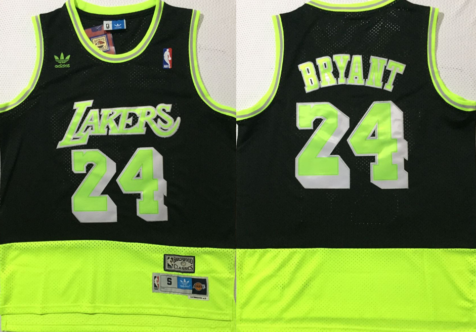 Lakers 24 Kobe Bryant Black Fluorescent Green Split Hardwood Classics Jersey