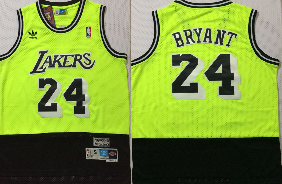 Lakers 24 Kobe Bryant Fluorescent Green Black Split Hardwood Classics Jersey