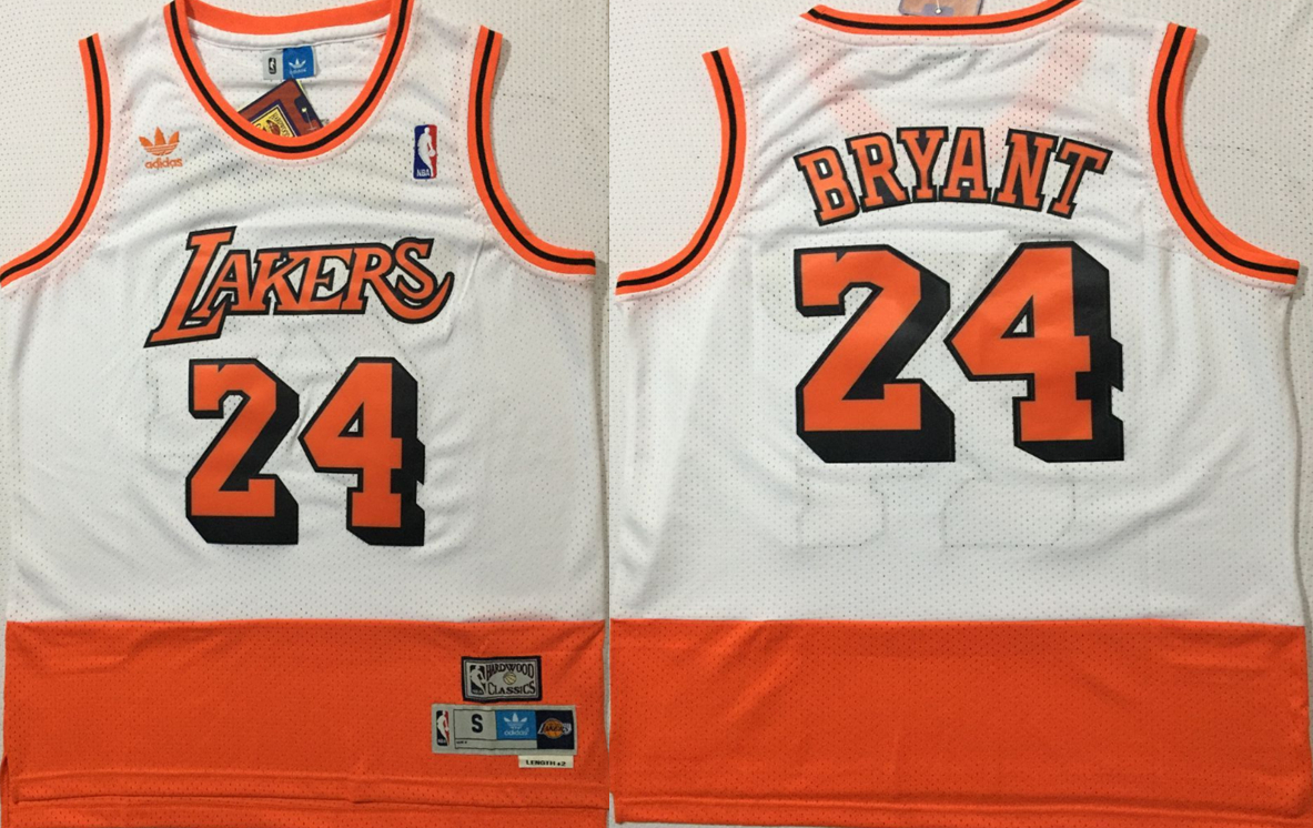 Lakers 24 Kobe Bryant White Orange Split Hardwood Classics Jersey