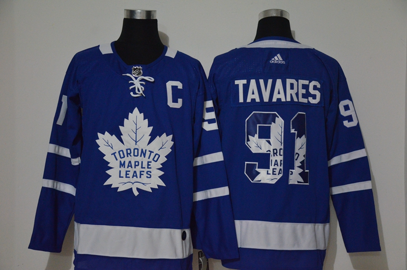 Maple Leafs 91 John Tavares Blue Adidas Fashion Jersey