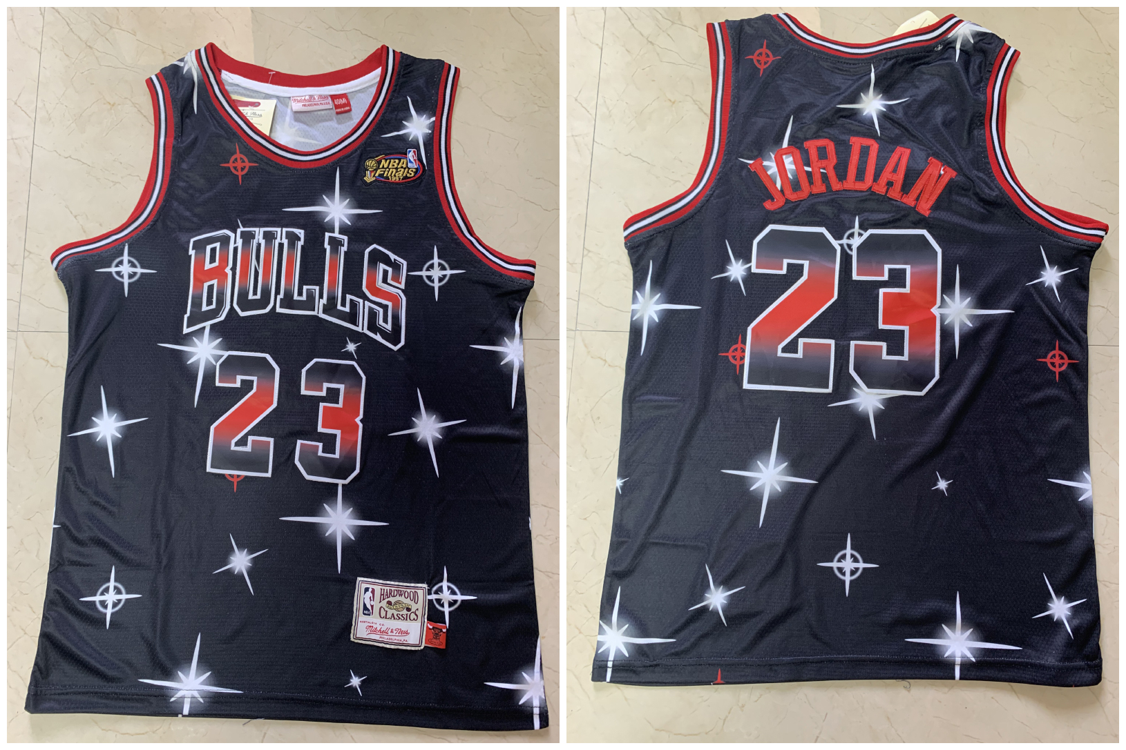 Bulls 23 Michael Jordan Black 1997 NBA Finals Patch Star Hardwood Classics Jersey
