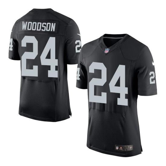 Nike Raiders 24 Charles Woodson Black Elite Jersey