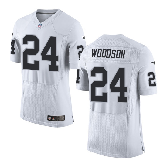 Nike Raiders 24 Charles Woodson White Elite Jersey