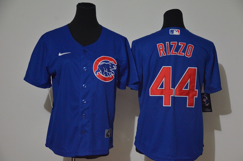 Cubs 44 Anthony Rizzo Royal Women Nike Cool Base Jersey