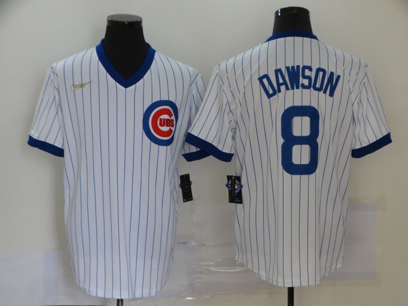 Cubs 8 Andre Dawson White Nike Cool Base Jersey