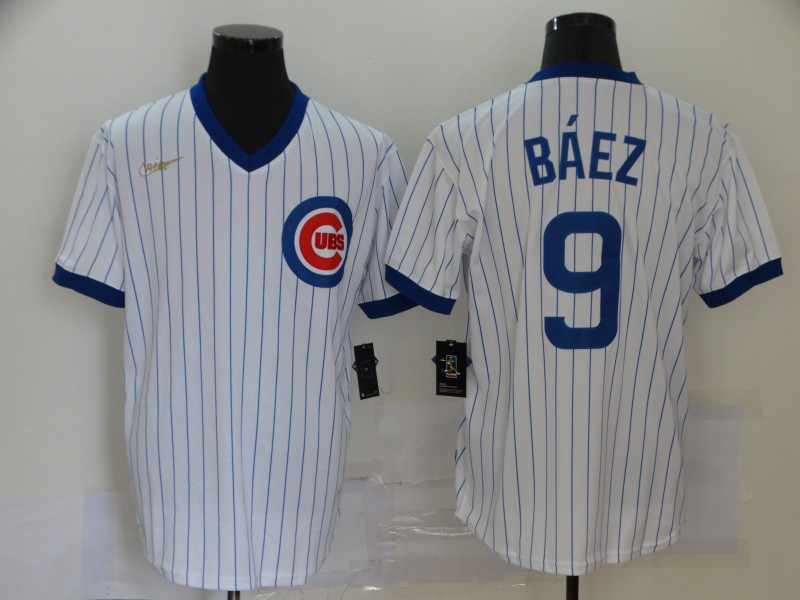 Cubs 9 Javier Baez White 2020 Nike Cool Base Jersey