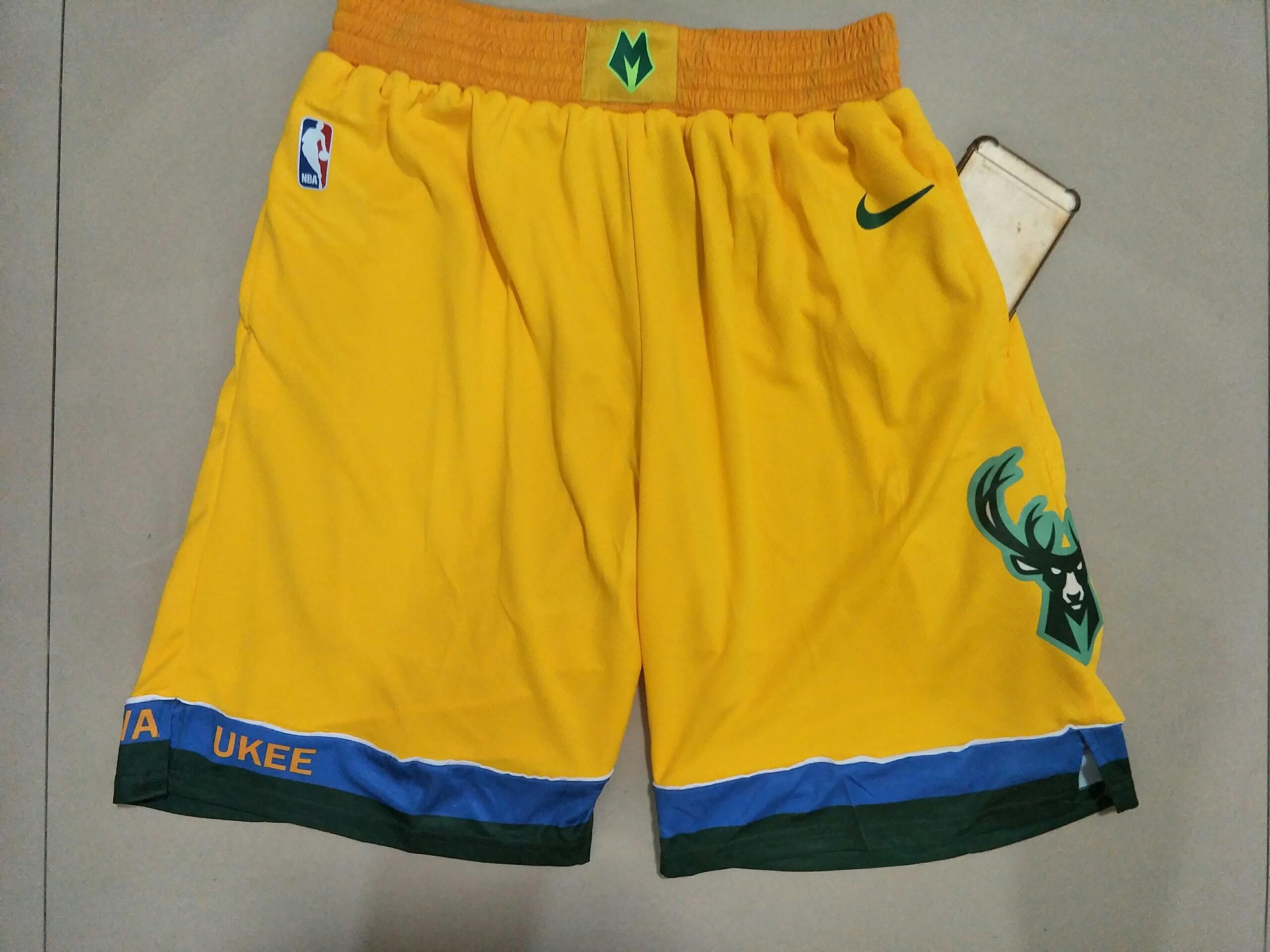 Bucks Yellow City Edition With Pocket Nike Swingman Shorts