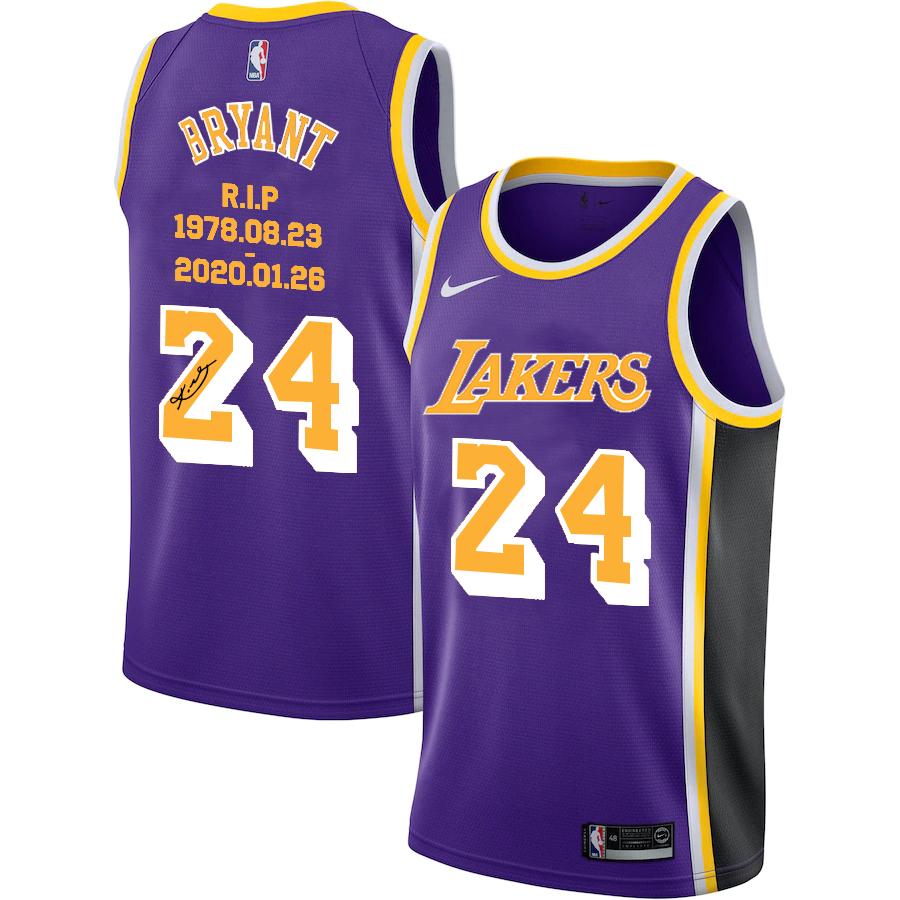 Lakers 24 Kobe Bryant Purple R.I.P Signature Swingman Jersey
