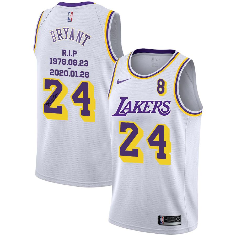 Lakers 24 Kobe Bryant White R.I.P Signature Swingman Jersey