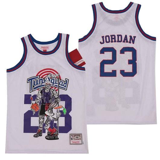 Tune Squad 23 Michael Jordan White Hardwood Classics Skull Edition Movie Jersey