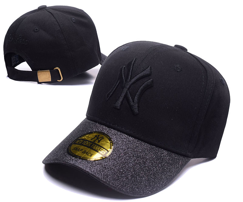 Yankees Team Logo Black Gray Peaked Adjustable Hat SG