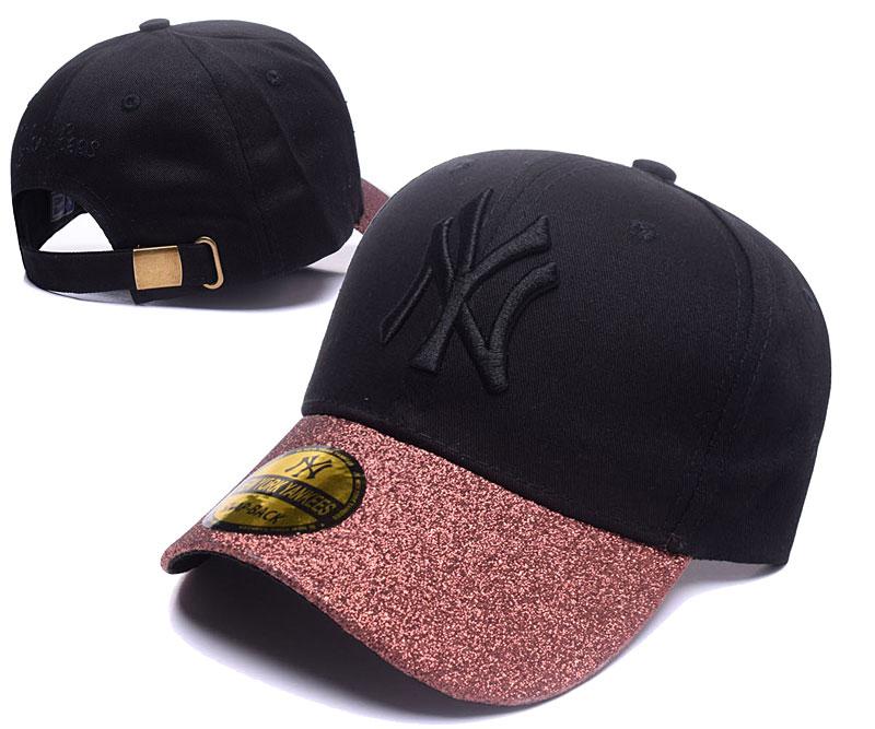 Yankees Team Logo Black Peaked Adjustable Hat SG