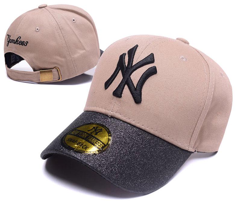 Yankees Team Logo Cream Peaked Adjustable Hat SG