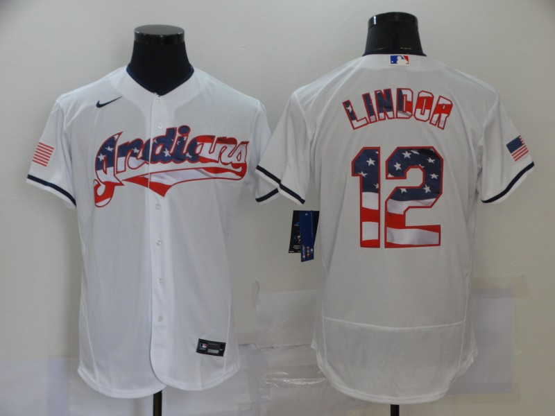 Indians 12 Francisco Lindor White USA Flag Fashion Nike Flexbase Jersey