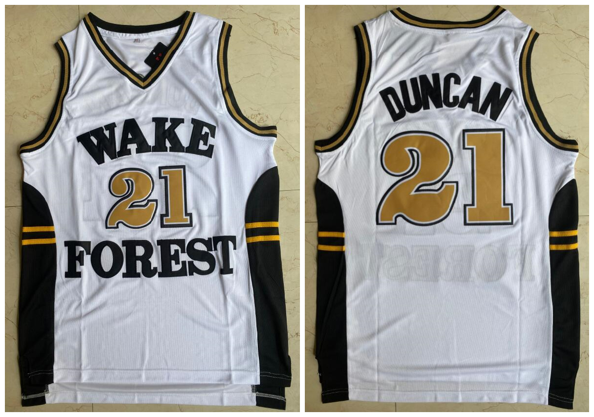 Wake Forest Demon Deacons 21 Tim Duncan White College Basketball Jersey