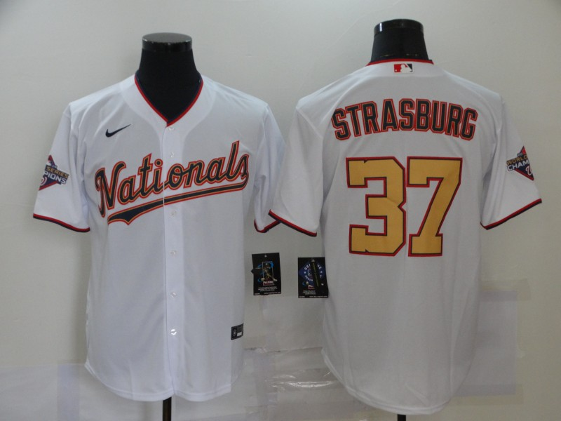 Nationals 37 Stephen Strasburg White Gold Nike 2020 Gold Program Cool Base Jersey