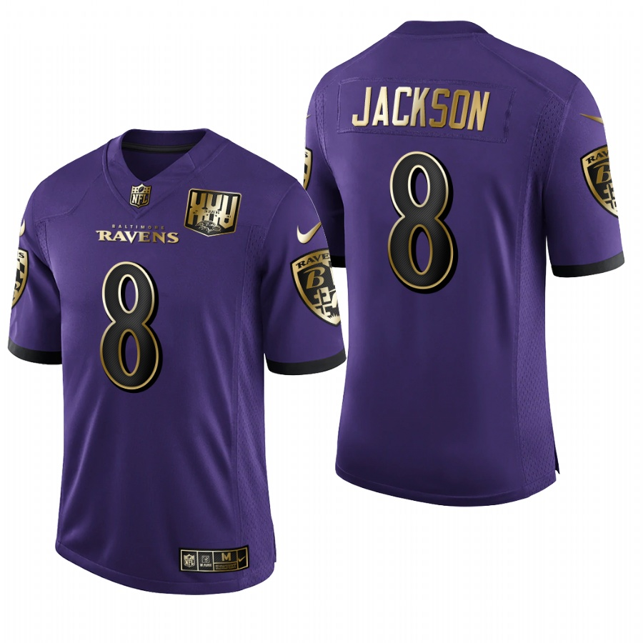 Nike Ravens 8 Lamar Jackson Purple Gold Vapor Untouchable Limited Jersey