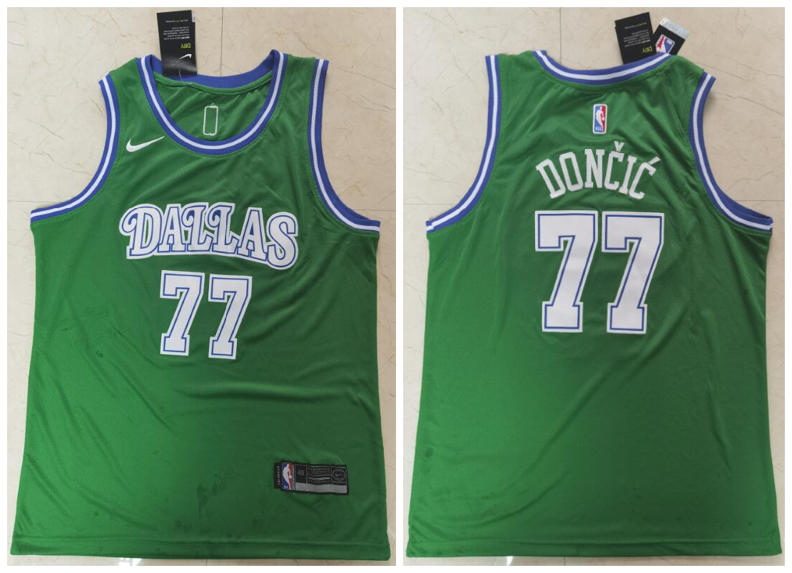Mavericks 77 Luka Doncic Green Nike Swingman Jersey