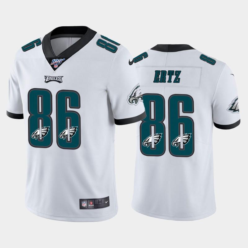 Nike Eagles 86 Zach Ertz White Number Logo Team 100th Season Vapor Untouchable Limited Jersey