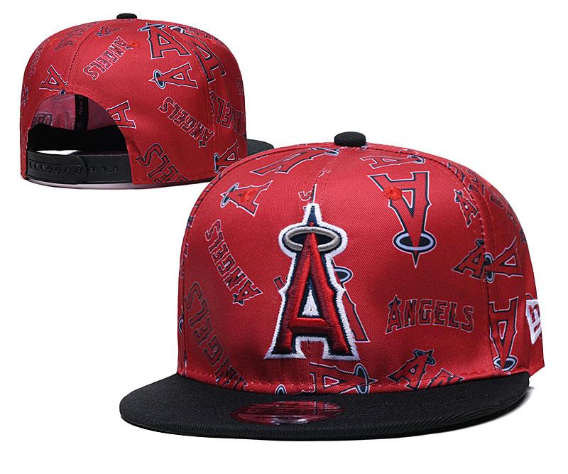 Angels Team Logos Red Black Adjustable Hat TX