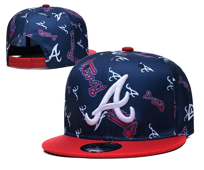 Braves Team Logos Navy Red Adjustable Hat TX