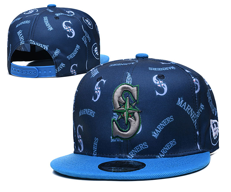 Mariners Team Logos Navy Blue Adjustable Hat TX