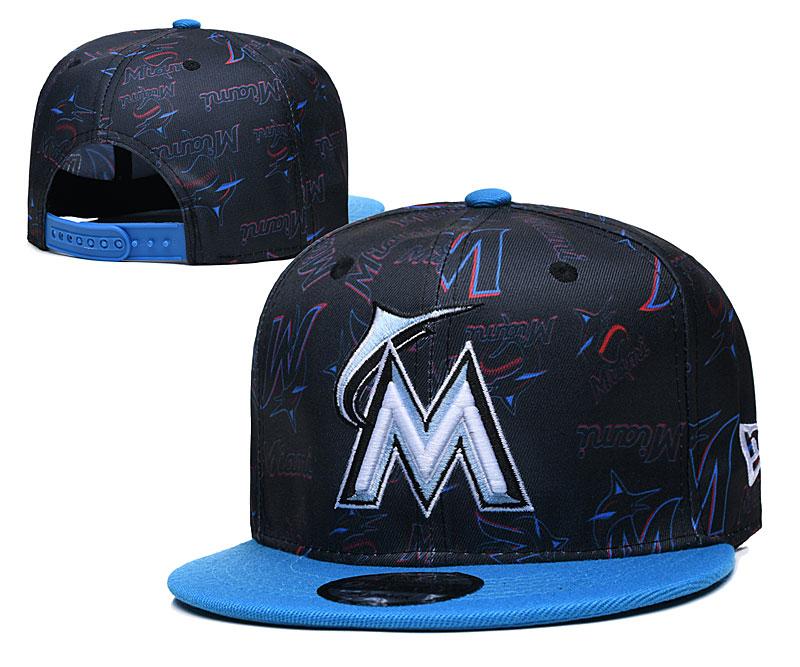 Marlins Team Logos Black Blue Adjustable Hat TX