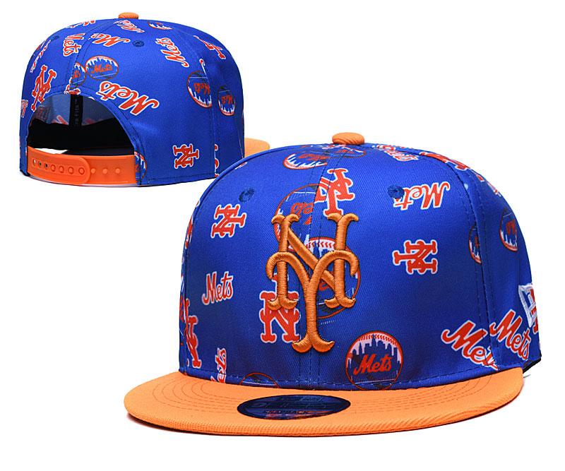 Mets Team Logos Royal Orange Adjustable Hat TX