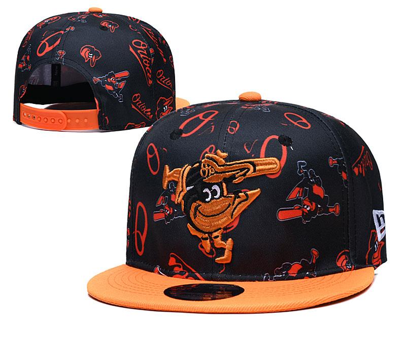 Orioles Team Logos Black Orange Adjustable Hat TX