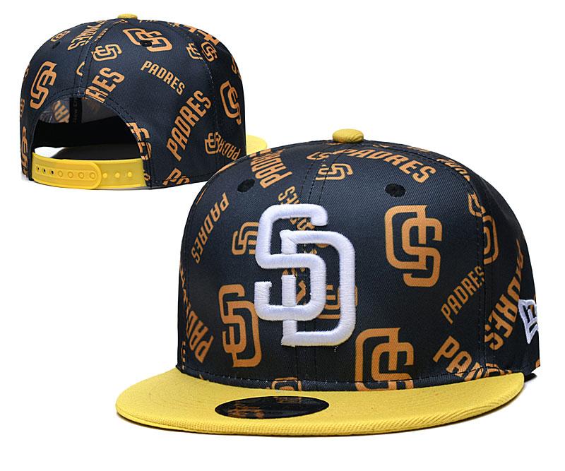 Padres Team Logos Black Yellow Adjustable Hat TX