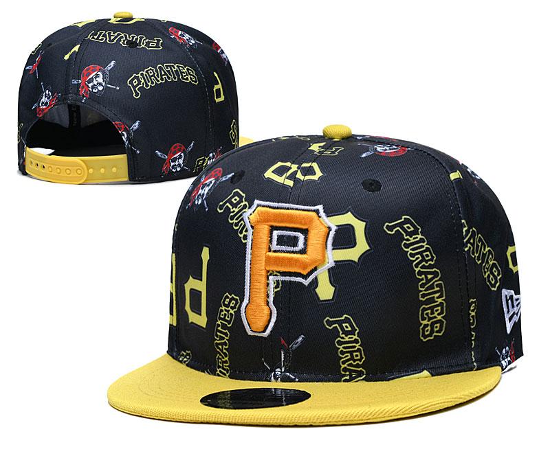 Pirates Team Logos Black Yellow Adjustable Hat TX