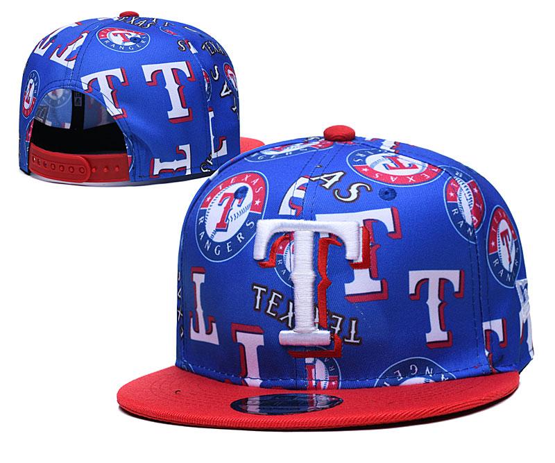 Rangers Team Logos Royal Red Adjustable Hat TX