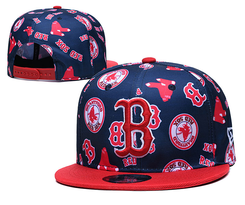 Red Sox Team Logos Navy Red Adjustable Hat TX