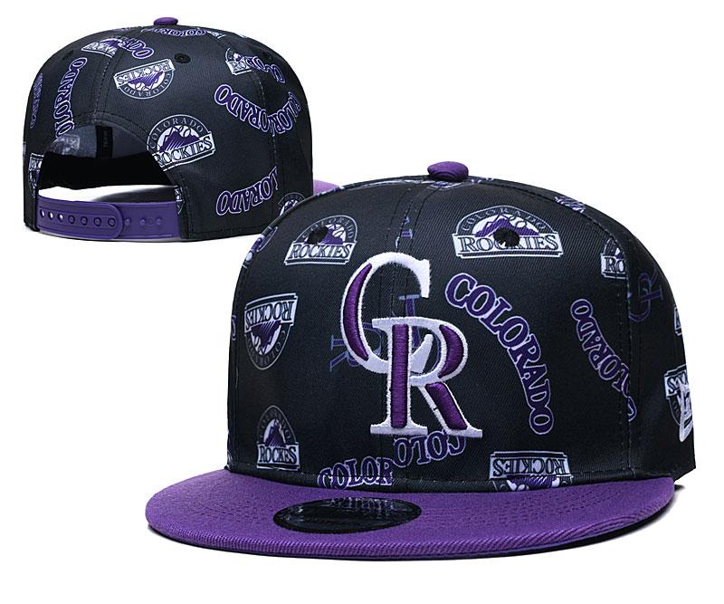 Rockies Team Logos Black Purple Adjustable Hat TX