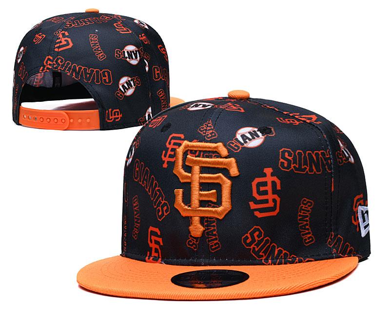 San Francisco Giants Team Logos Black Orange Adjustable Hat TX
