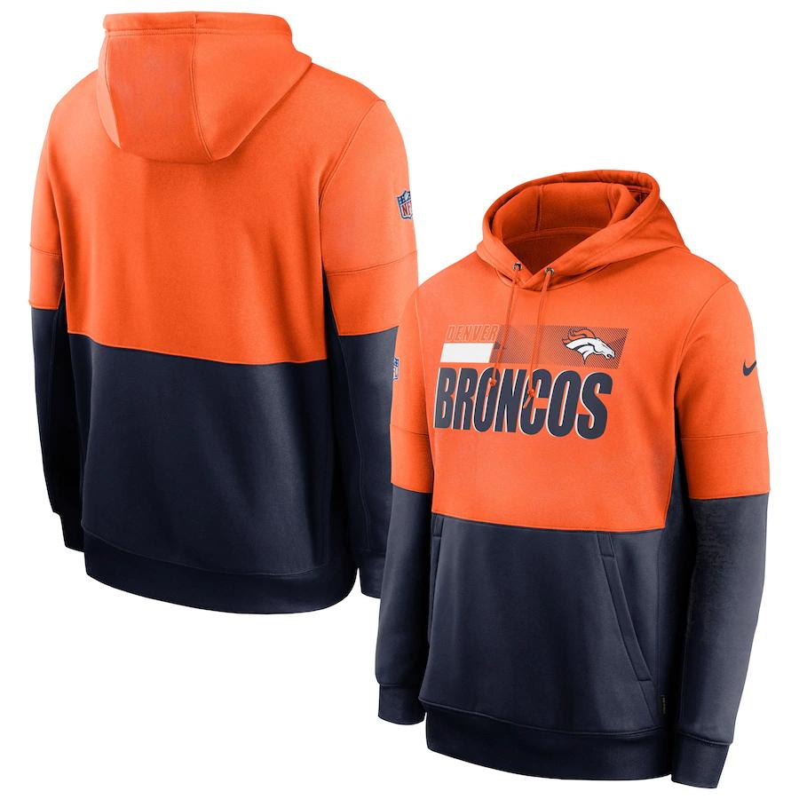 Men's Denver Broncos Nike Orange Navy Sideline Impact Lockup Performance Pullover Hoodie