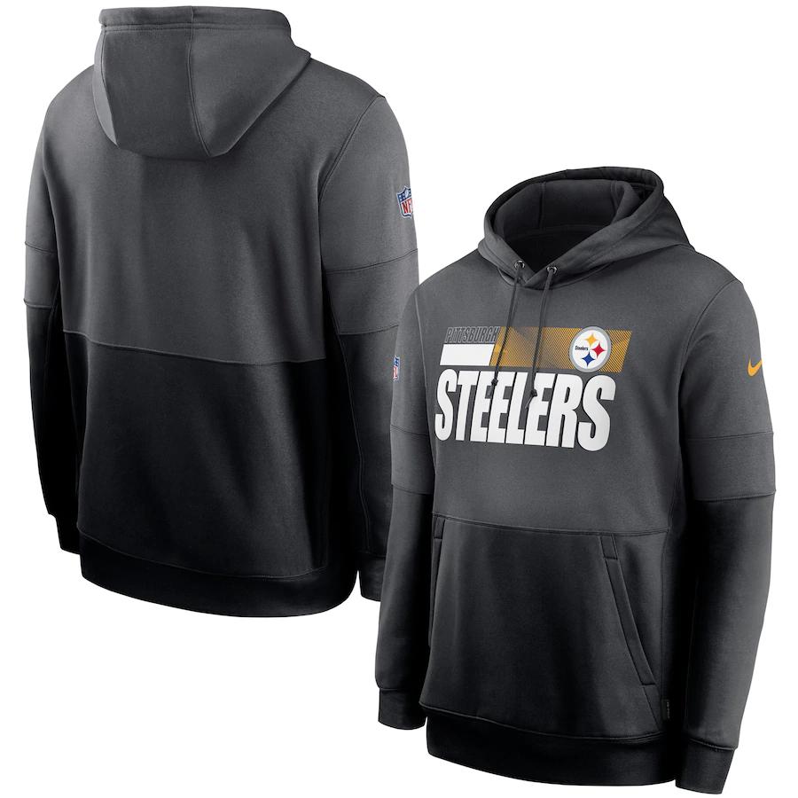 Men's Pittsburgh Steelers Nike Gray Black Sideline Impact Lockup Performance Pullover Hoodie