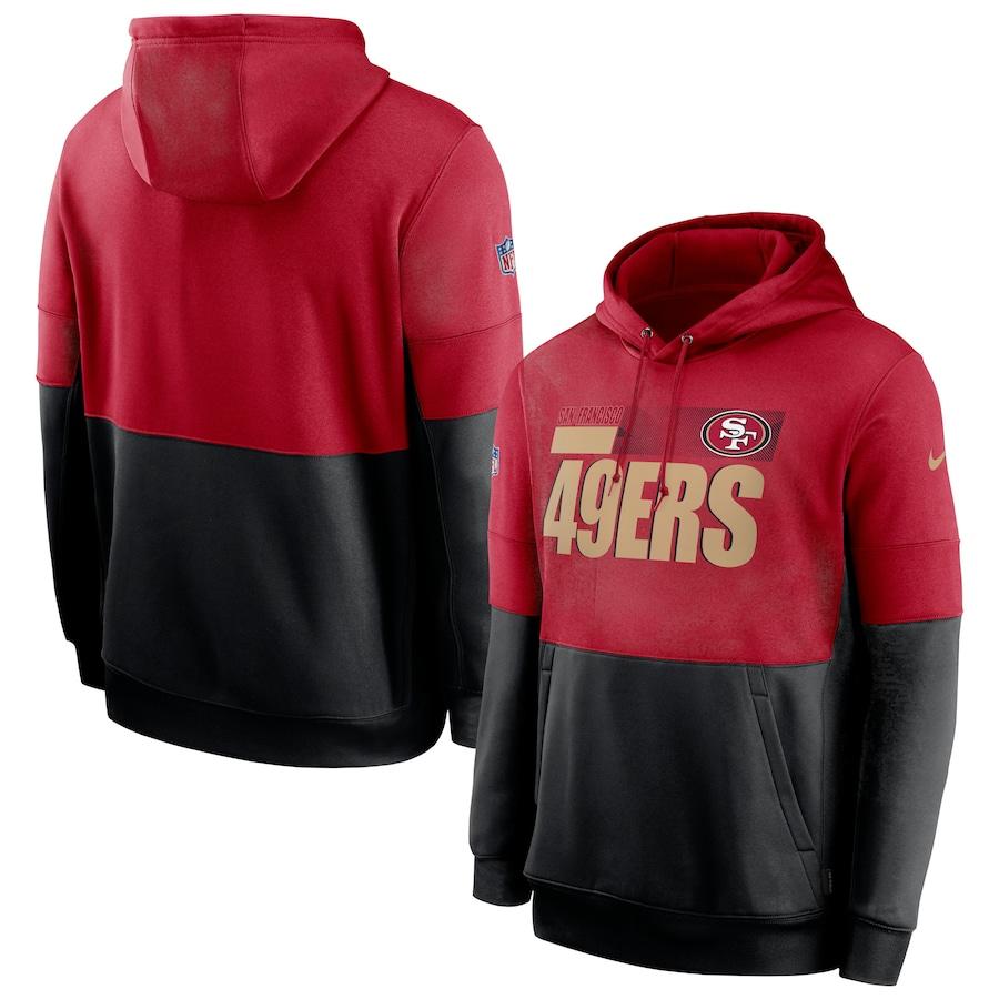 Men's San Francisco 49ers Nike Scarlet Black Sideline Impact Lockup Performance Pullover Hoodie