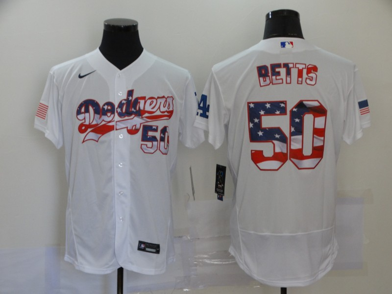 Dodgers 50 Mookie Betts White USA Flag Fashion Nike Flexbase Jersey