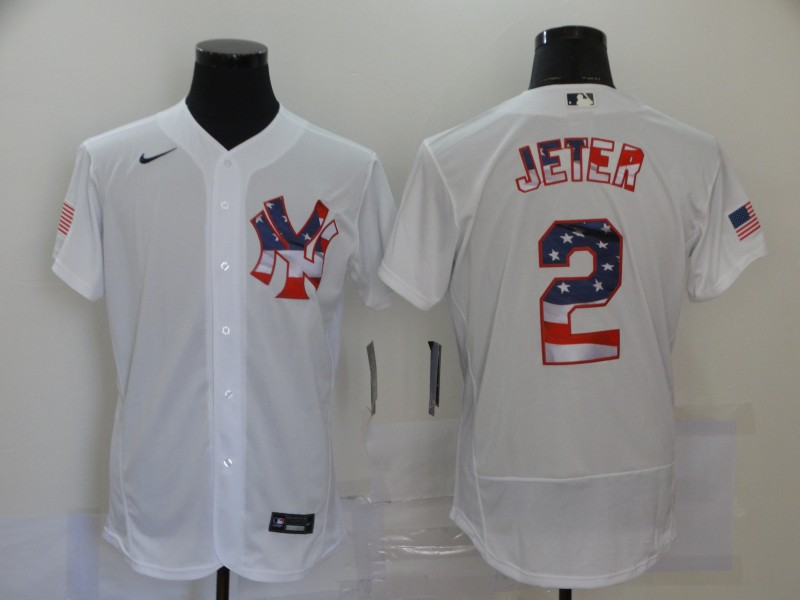 Yankees 2 Derek Jeter White USA Flag Fashion Nike Flexbase Jersey