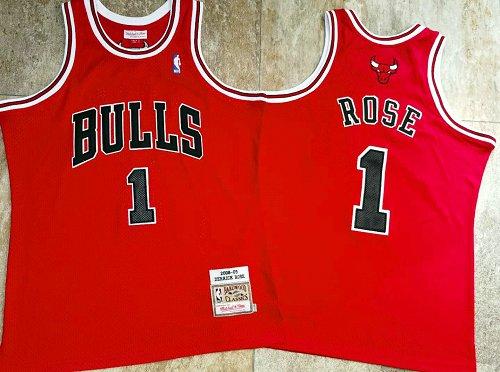 Bulls 1 Derrick Rose Red 2008-09 Hardwood Classics Jersey