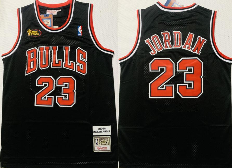 Bulls 23 Michael Jordan Black 1997-98 Hardwood Classics NBA Finals Jersey