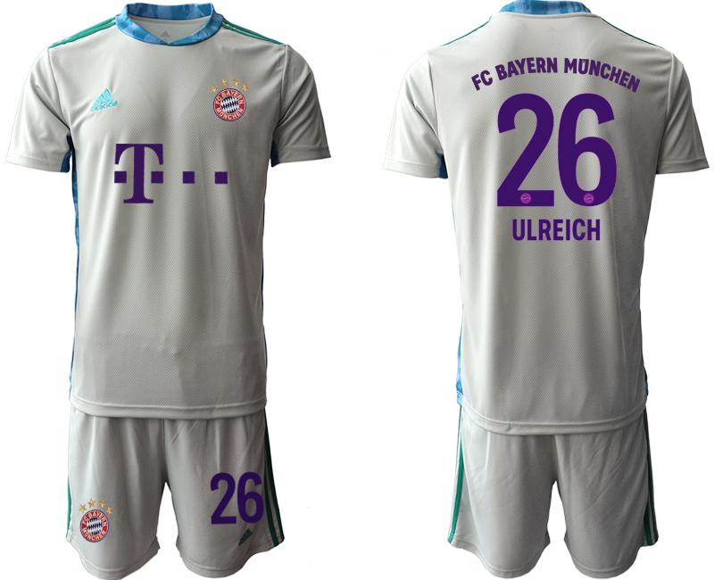 2020-21 Bayern Munich 26 ULREICH Gray Goalkeeper Soccer Jersey