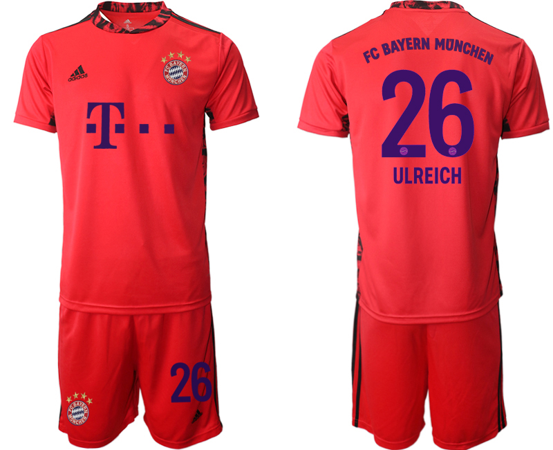 2020-21 Bayern Munich 26 ULREICH Red Goalkeeper Soccer Jersey