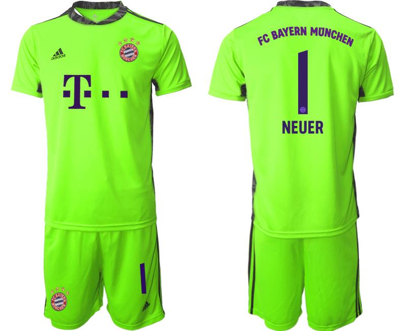 2020-21 Bayern Munich Fluorescent 1 NEUER Green Soccer Jersey